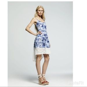 Peter Som high-low lace border dress in blue/white